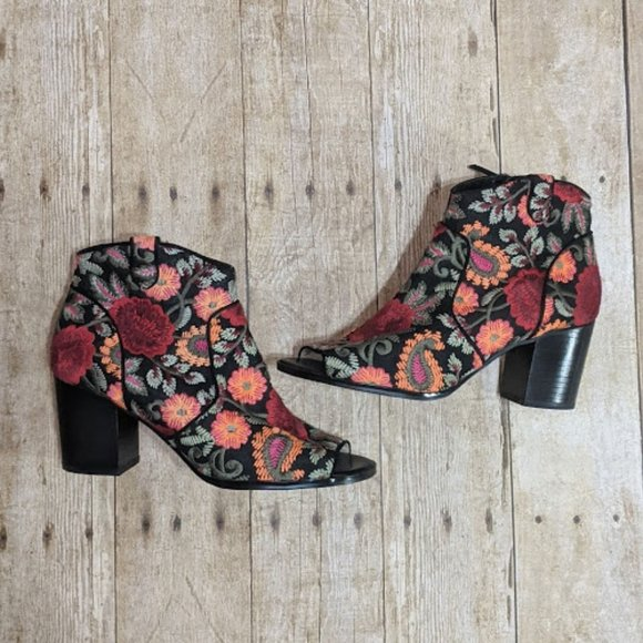 Black Booties with Floral Embroidery